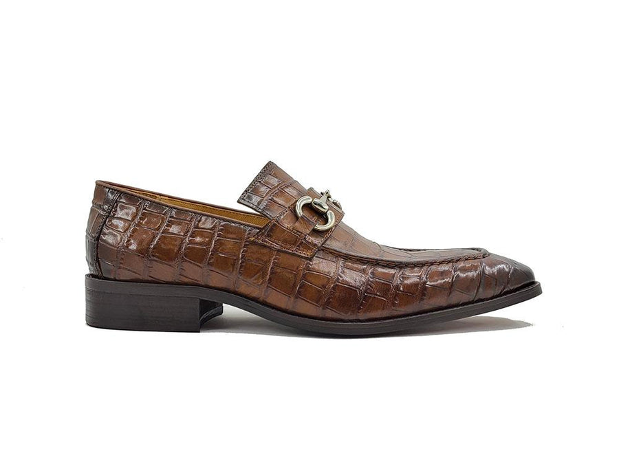 Carrucci Crocodile Embossed Calfskin Slip-On Loafer Cognac