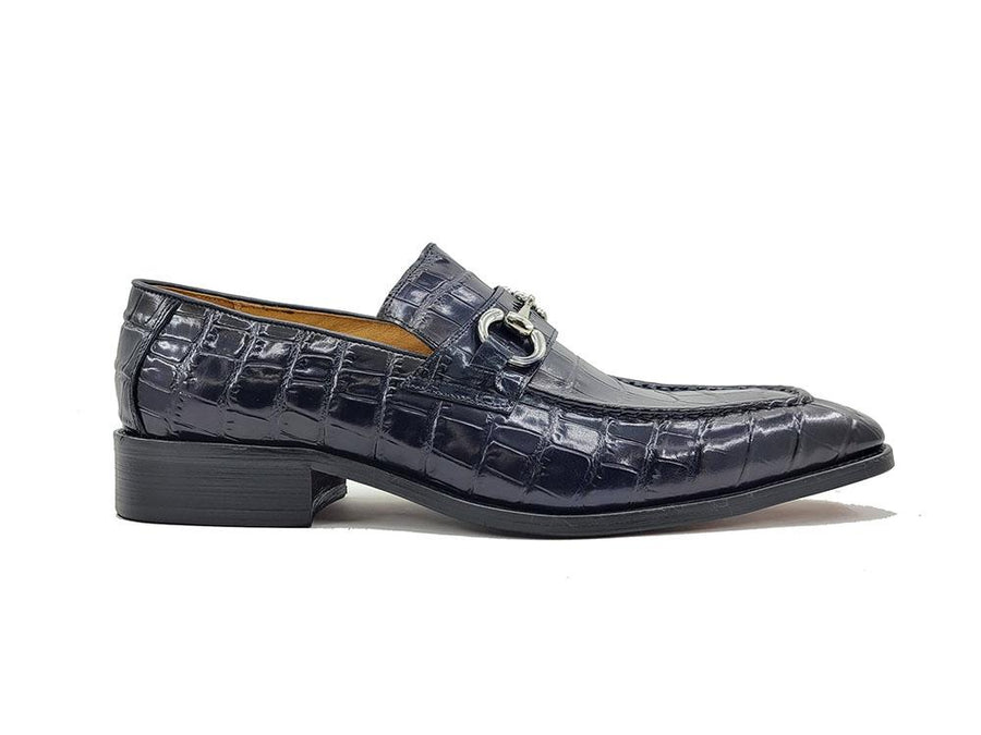 Carrucci Crocodile Embossed Calfskin Slip-On Loafer Navy