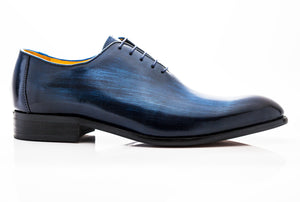 Burnished Calfskin Lace-Up Oxford Blue