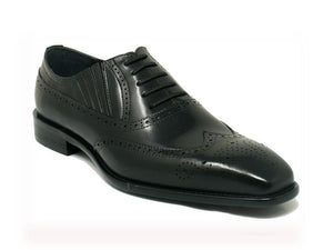 Calfskin Wingtip Faux Lace Oxford Black