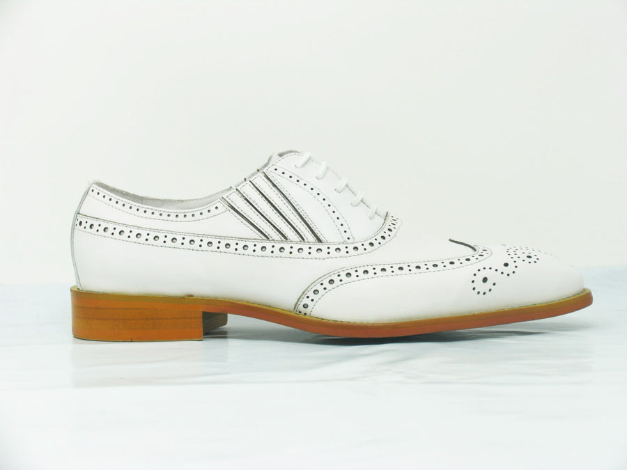 Calfskin Wingtip Faux Lace Oxford White