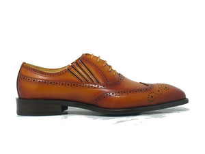 Calfskin Wingtip Faux Lace Oxford Cognac
