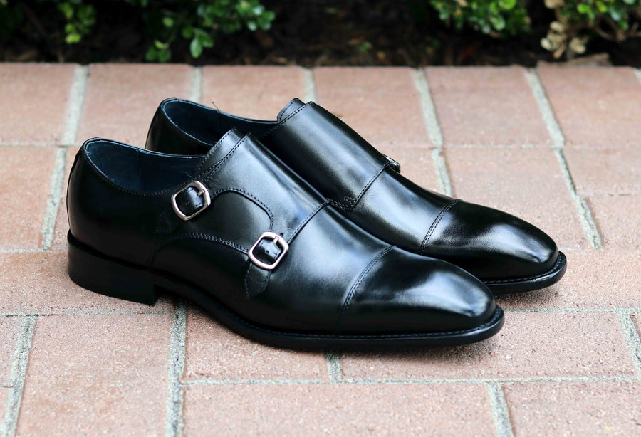 Calfskin Double Monkstrap Shoe Black