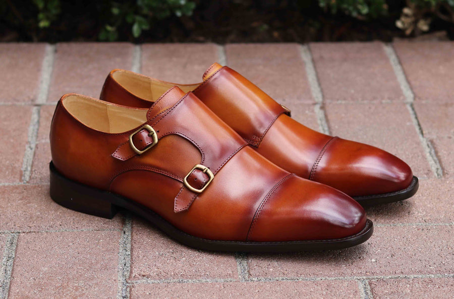 Calfskin Double Monkstrap Shoe Cognac