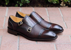 Calfskin Double Monkstrap Shoe Chestnut