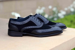 Calfskin & Suede Wingtip Oxford Black