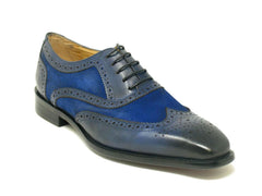 Calfskin & Suede Wingtip Oxford Blue