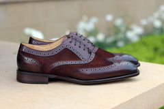 Calfskin & Suede Wingtip Oxford Chestnut