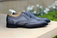 Calfskin & Suede Wingtip Oxford Grey