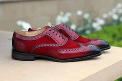 Calfskin & Suede Wingtip Oxford Red