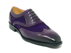 Calfskin & Suede Wingtip Oxford Purple