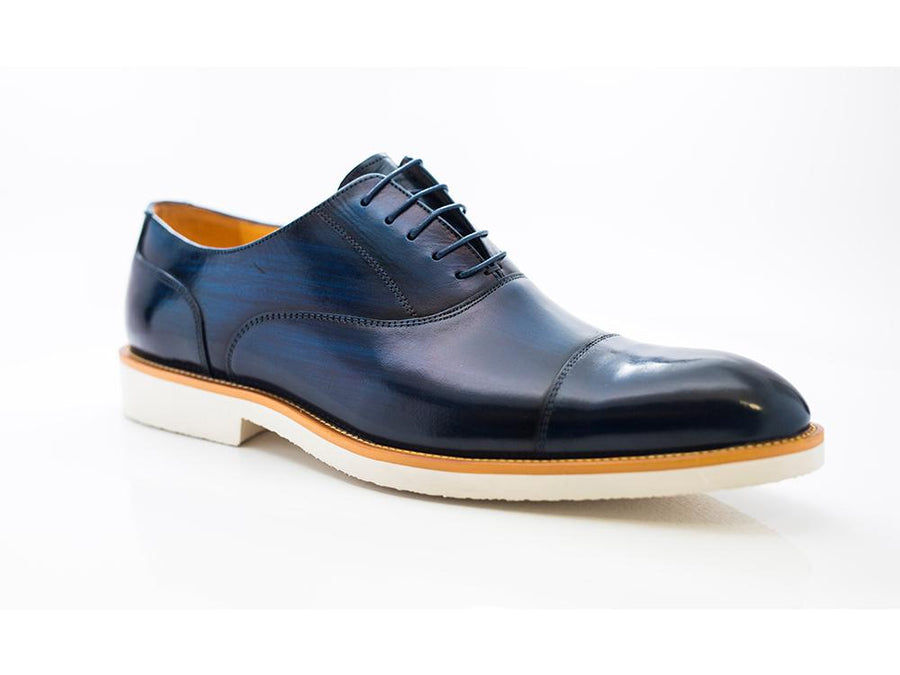 Carrucci by Maurice Burnished Calfskin Lace-Up Oxford Blue