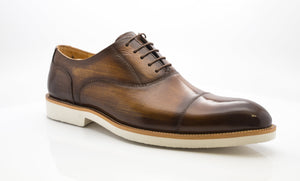 Carrucci by Maurice Burnished Calfskin Lace-Up Oxford Cognac