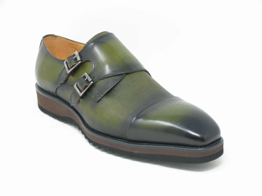 Calfskin Double Monkstrap Shoe Olive