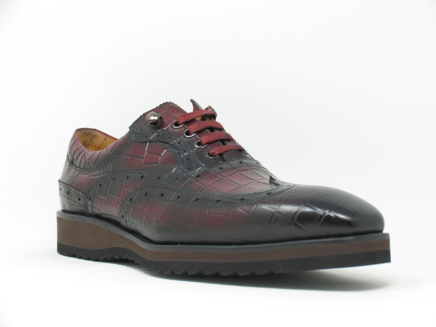 Calfskin Lace-Up Oxford Burgundy