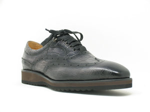 Calfskin Lace-Up Oxford Grey