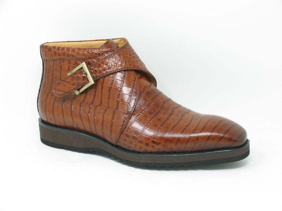 Alligator Printed Calfskin Slip-On Boot Whiskey