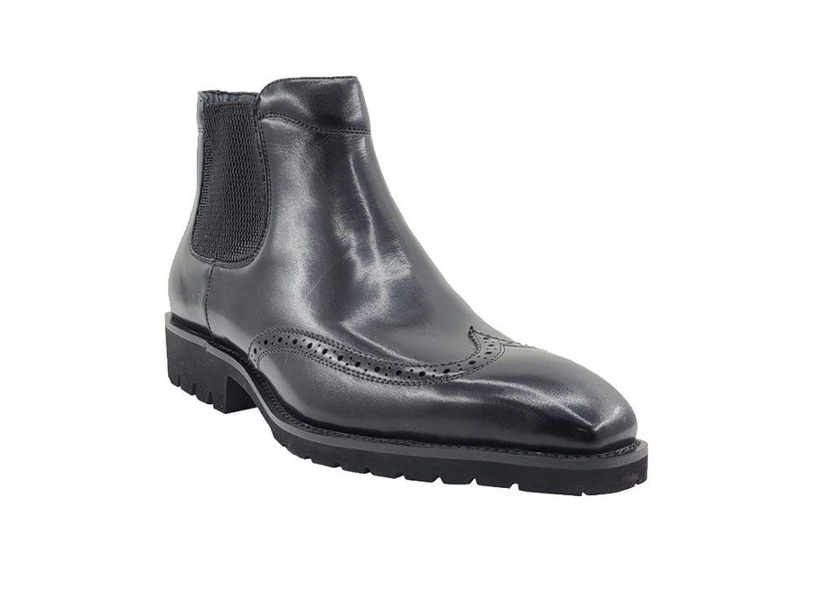 Burnished Calfskin Slip-On Chelsea Boot Black