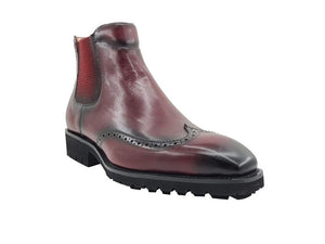 Burnished Calfskin Slip-On Chelsea Boot Burgundy