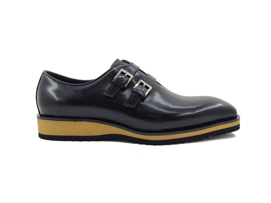 Burnished Calfskin Double Monkstrap Shoe Black
