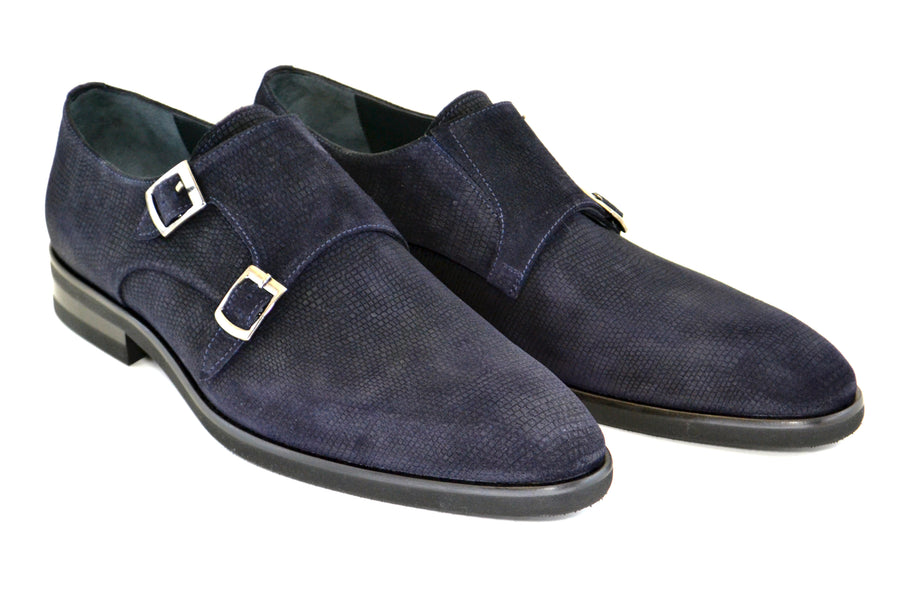 Corrente Suede Double Monkstrap Shoe Navy