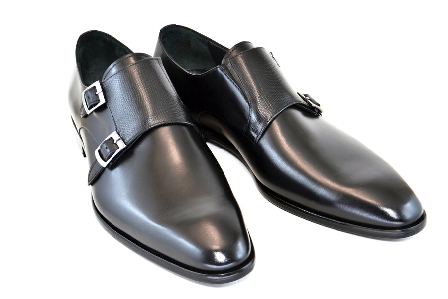 Corrente Calfskin Double Monkstrap Shoe Black