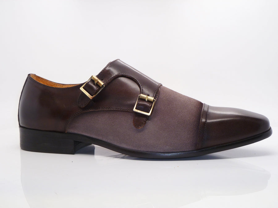 Calfskin & Suede Double Monkstrap Brown