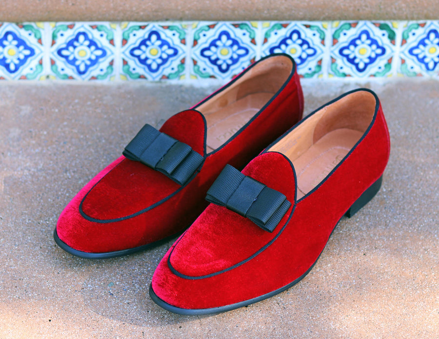 Velvet Formal Loafer Red