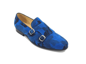 Carrucci Printed Suede Double Monkstrap Shoe Blue