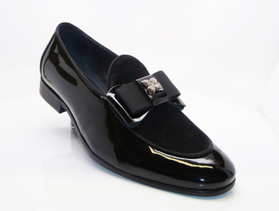 Patent Leather & Suede Slip-On Loafer Black