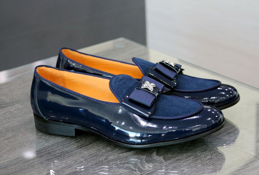 Patent Leather & Suede Slip-On Loafer Blue