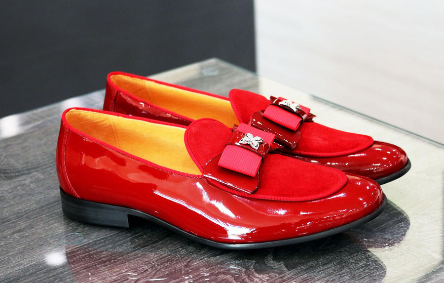 Patent Leather & Suede Slip-On Loafer Red