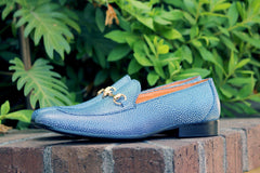 Textured Calfskin Slip-On Loafer Blue