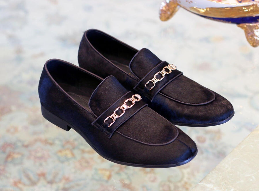Pony Hair Slip-On Loafer Black