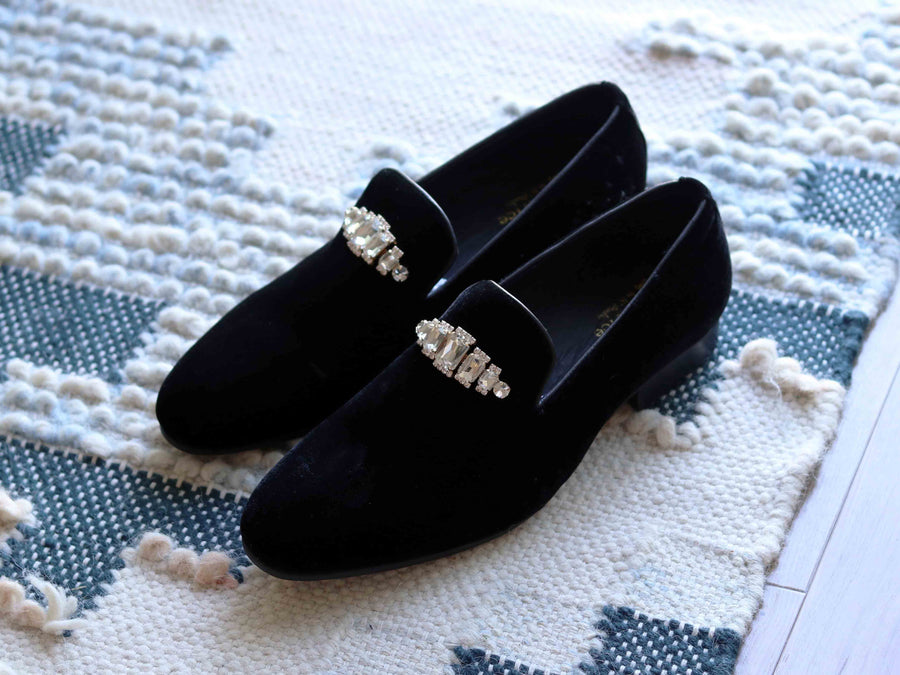Velvet Slip-On Venetian Loafer Black