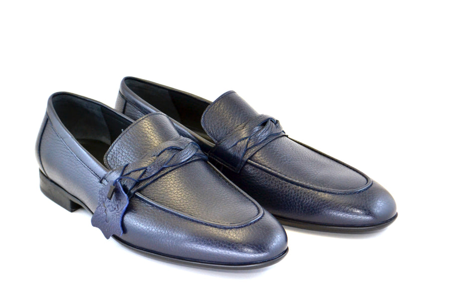 Corrente Deerskin Penny Loafer Navy