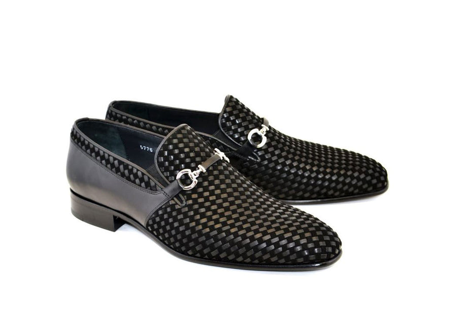 Corrente Woven Calfskin & Suede Slip-On Shoe Black