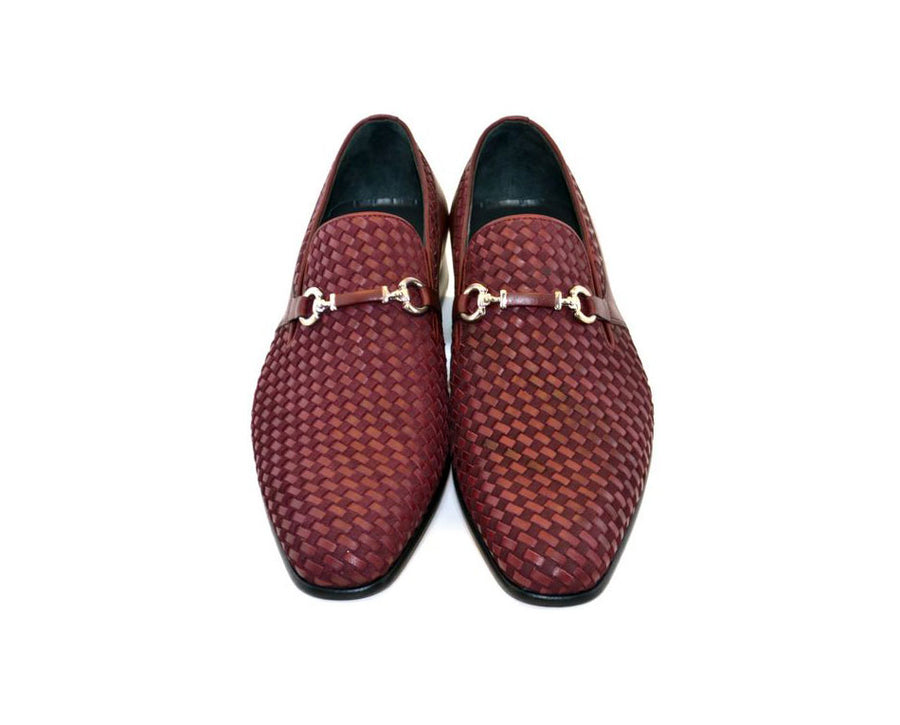 Corrente Woven Calfskin & Suede Slip-On Shoe Burgundy