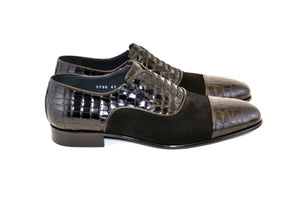 Corrente Calfskin & Suede Lace-Up Oxford Black