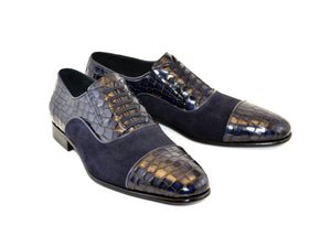 Corrente Calfskin & Suede Lace-Up Oxford Navy