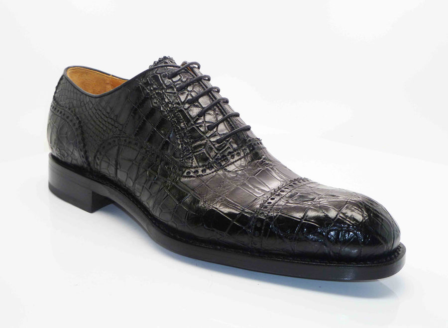 Burnished Alligator Lace-Up Oxford Black