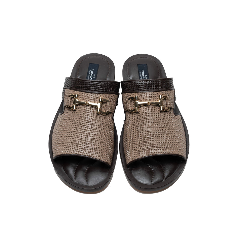 Corrente Perforated Calfskin Sandal Taupe