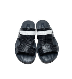 Corrente Perforated Calfskin Sandal Navy