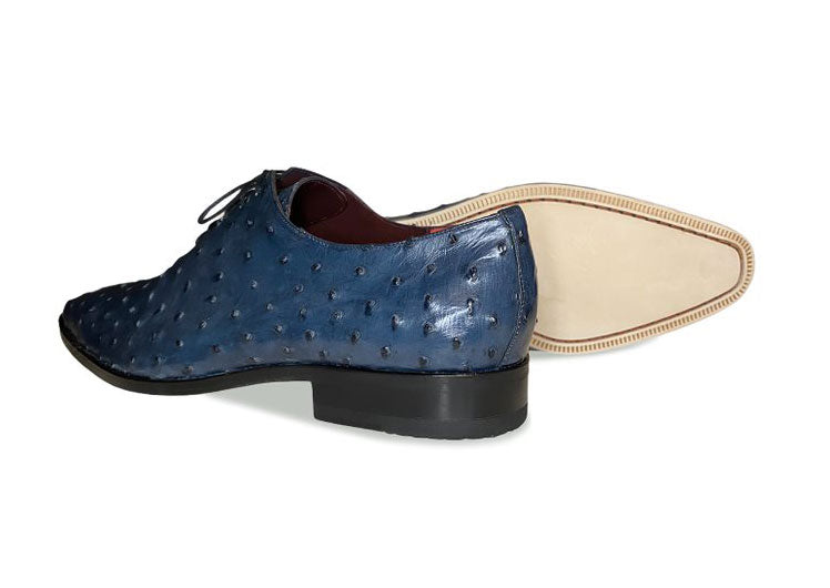 Pelle Exotics Ostrich Quill Lace-Up Oxford Blue