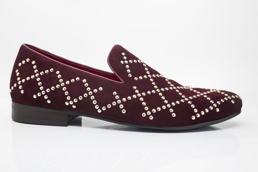 Studded Suede Slip-On Loafer Burgundy