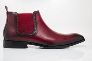 Burnished Calfskin Slip-On Boot Red
