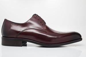 Burnished Calfskin Lace-Up Oxford Burgundy