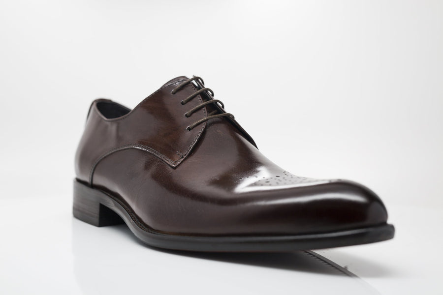 Burnished Calfskin Lace-Up Oxford Chestnut