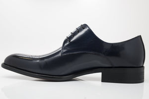 Burnished Calfskin Lace-Up Oxford Navy