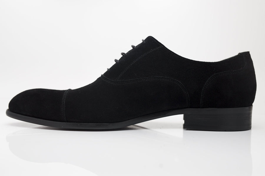 Suede Lace-Up Oxford Black